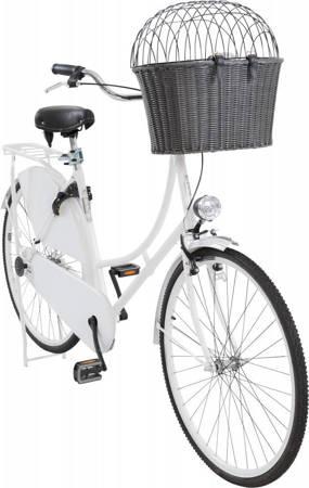 Kosz wiklinowy z kratką dla psa do mocowania na kierownicę roweru