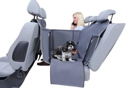 Mata samochodowa z bokami dla psa na połowę tylnego siedzenia Anti Slip Mini popielata