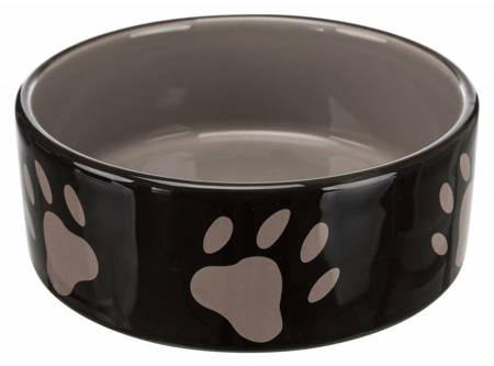 Miska ceramiczna brązowa w beżowe łapki 800ml
