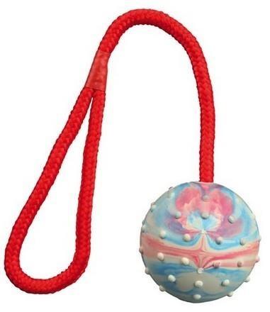 Piłka z wytrzymałej gumy na sznurku z rączką