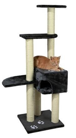 Wielopoziomowy drapak dla kota z budką i półkami antracyt