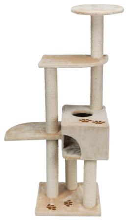 Wielopoziomowy drapak dla kota z budką i półkami beżowy